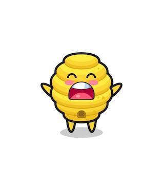 Simpatica mascotte dell'alveare con un'espressione di sbadiglio, design carino