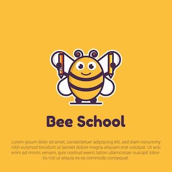 Logo scuola carino ape, modello di adesivo