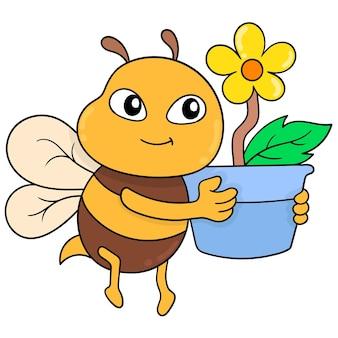Le api carine volano trasportando bellissime piante di girasole, illustrazione vettoriale. scarabocchiare icona immagine kawaii.