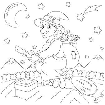 La carina befana vola su una scopa con un sacchetto di regali pagina del libro da colorare per bambini