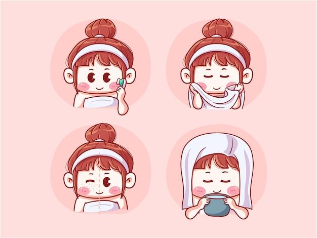 Carino prima dopo il viso di lavaggio della ragazza incline all'acne