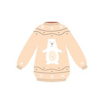 Simpatico maglione natalizio beige con orso polare bianco felice
