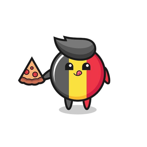 Simpatico cartone animato distintivo bandiera belga che mangia pizza, design in stile carino per maglietta, adesivo, elemento logo