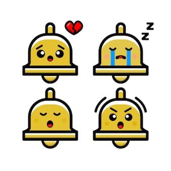Illustrazione sveglia dell'icona di vettore della campana. isolato. stile cartone animato adatto per adesivo, pagina di destinazione web, banner, volantino, mascotte, poster.