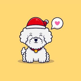 Illustrazione sveglia dell'icona del fumetto del cappello di natale del cane di bichon frise