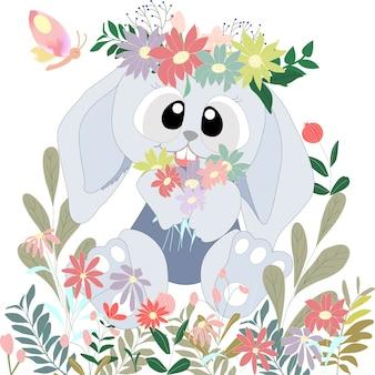 Coniglietto di coniglio carino occhi grandi nel cespuglio di fiori