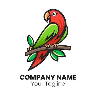 Vettore di progettazione di logo del fumetto dell'uccello sveglio