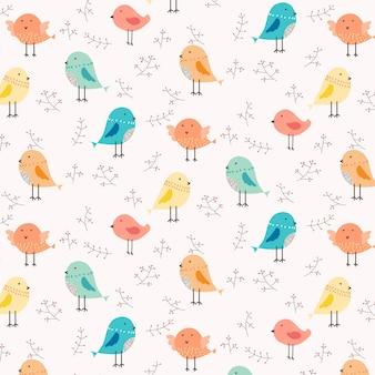 Uccello carino e sfondo motivo floreale.