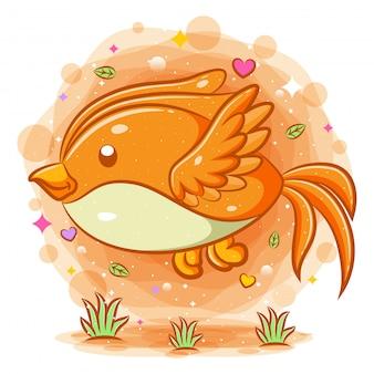 Personaggio dei cartoni animati di volo uccello carino