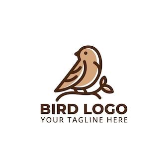 Simpatico logo di uccello con illustrazione di foglie