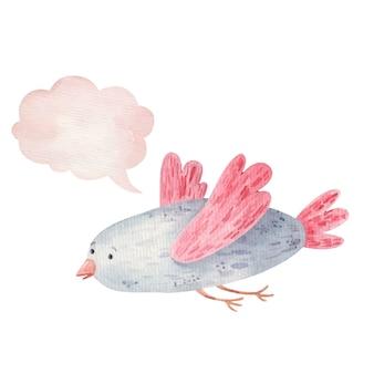 Simpatico uccello e icona del pensiero, nuvola, acquerello illustrazione per bambini