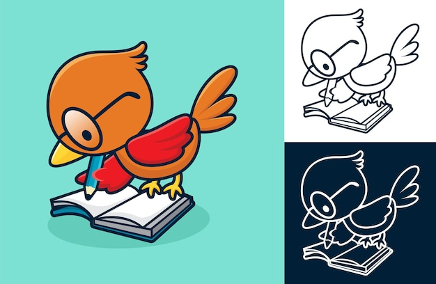 Simpatico uccello usa gli occhiali, scrivendo in un libro. illustrazione del fumetto in stile icona piatta