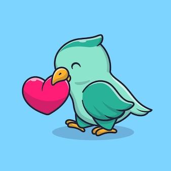Uccello sveglio con l'illustrazione del fumetto del cuore di amore. concetto di natura animale isolato. stile cartone animato piatto