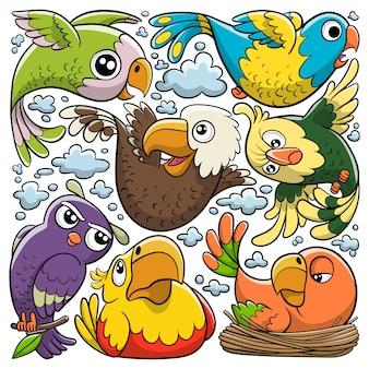 Doodle disegnato a mano dell'icona degli uccelli svegli