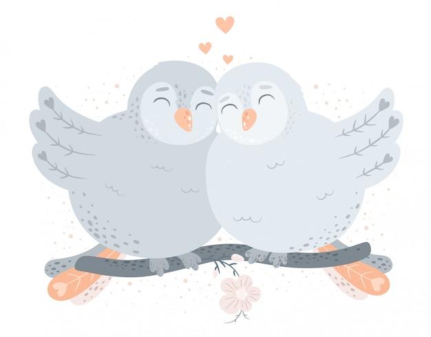 Simpatici uccelli innamorati. illustrazione in stile scandinavo.