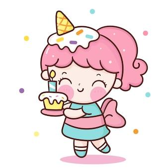 Catoon della ragazza di compleanno sveglio che tiene il bigné dolce con il gelato sul carattere kawaii della testa