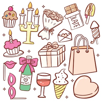 Insieme di doodle di oggetto compleanno carino Vettore Premium
