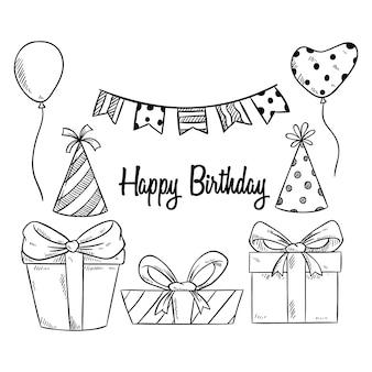 Elementi di festa di compleanno carino con stile abbozzato o disegnato a mano