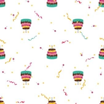 Modello senza cuciture di compleanno carino con torta, candele.