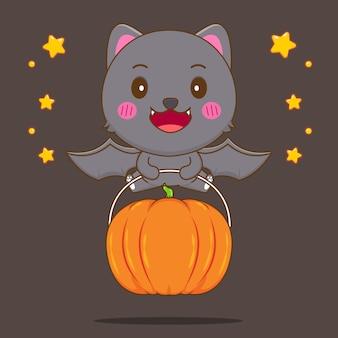 Simpatico gatto nero pipistrello che vola con una grande zucca