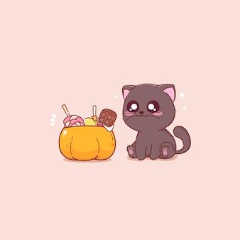 Secchio di caramelle di zucca e gatto nero carino illustrazione vettoriale speciale di halloween
