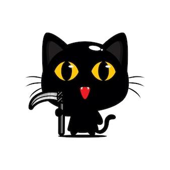 Simpatico gatto nero che indossa un costume da mietitore