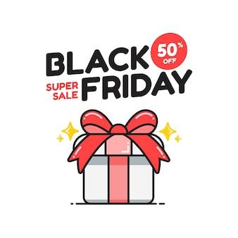 Banner di vendita venerdì nero carino con regalo