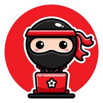 Carino ninja nero che gioca laptop