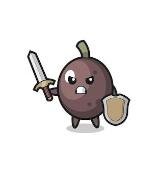Simpatico soldato oliva nero che combatte con spada e scudo, design in stile carino per maglietta, adesivo, elemento logo