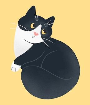 Simpatico gatto bianco e nero su sfondo giallo