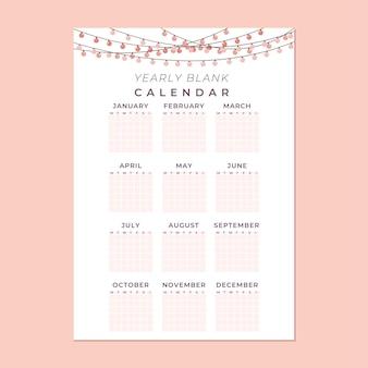 Modello verticale di calendario vuoto carino, calendario annuale con lampada lanterna rosa pesca e sfondo bianco