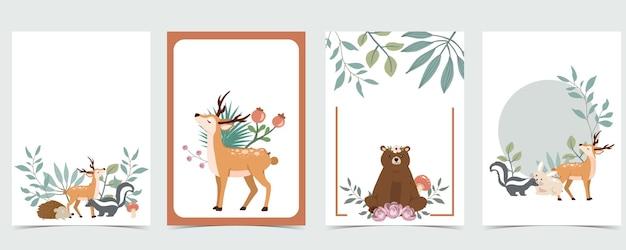 Simpatica cartolina vuota del bosco con cervi e orsi