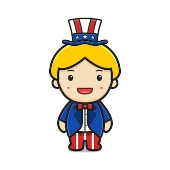 Cartone animato carino ragazzo biondo con illustrazione di tuta e cappello stampati stati uniti d'america
