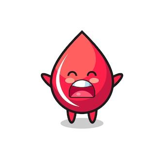 Simpatica mascotte goccia di sangue con un'espressione di sbadiglio, design in stile carino per maglietta, adesivo, elemento logo