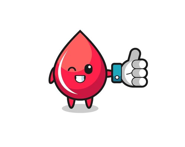 Simpatica goccia di sangue con il simbolo del pollice in alto sui social media, design in stile carino per t-shirt, adesivo, elemento logo