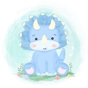 Illustrazione di dinosauro blu carino