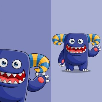 Simpatico personaggio mostro blu agitando, con diversa posizione dell'angolo di visualizzazione, disegnato a mano