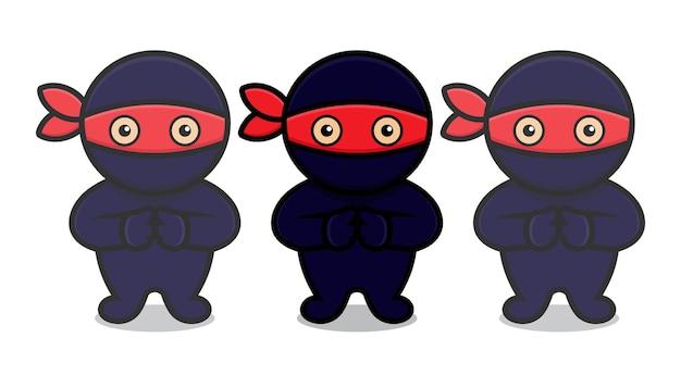 Il simpatico personaggio mascotte ninja blu fa un clone. disegno isolato su sfondo bianco.