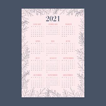 Calendario blu e rosa sveglio dell'illustrazione di tema del giardino della foglia