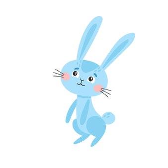 Coniglio blu sveglio isolato su bianco.