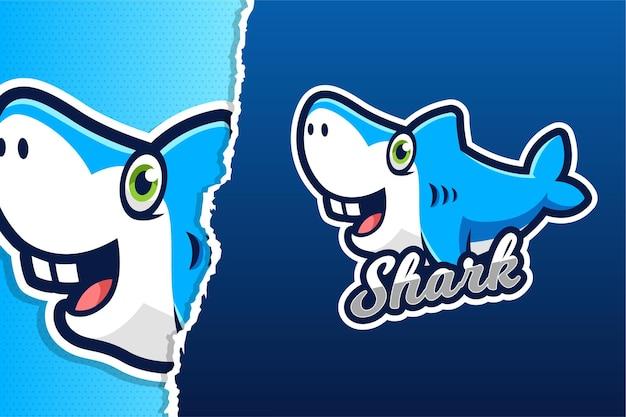 Modello di logo del gioco mascotte blu squalo carino