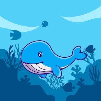 Illustrazione sveglia del fumetto della balena blu