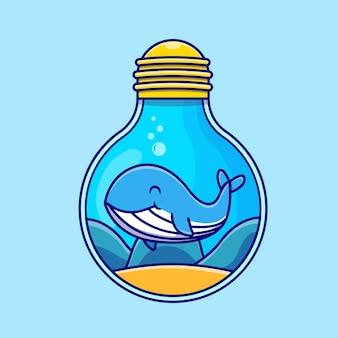 Carino, balenottera azzurra, nuoto, in, bulbo, cartone animato, icona, illustrazione