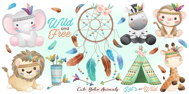 Simpatici animali boho con illustrazione dell'acquerello