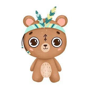 Simpatico orso boho con grandi occhi e piume in uno stile primitivo su uno sfondo bianco