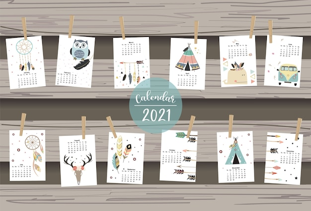 Simpatico calendario boho 2021 con piuma, catcher, wild, ghirlanda per bambini