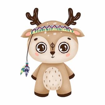 Simpatico cervo boho con grandi occhi in uno stile primitivo con piume su uno sfondo bianco