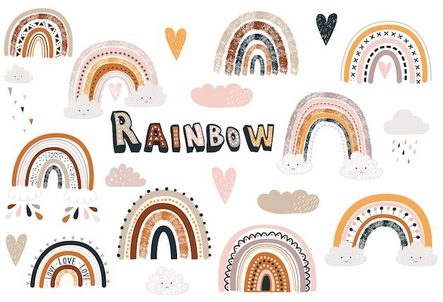Insieme di raccolta carino boho rainbow