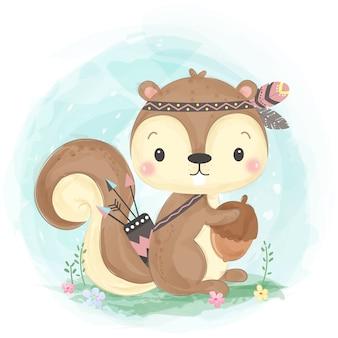 Illustrazione sveglia dello scoiattolo di boho