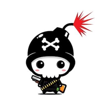 Simpatico personaggio del cranio della bomba